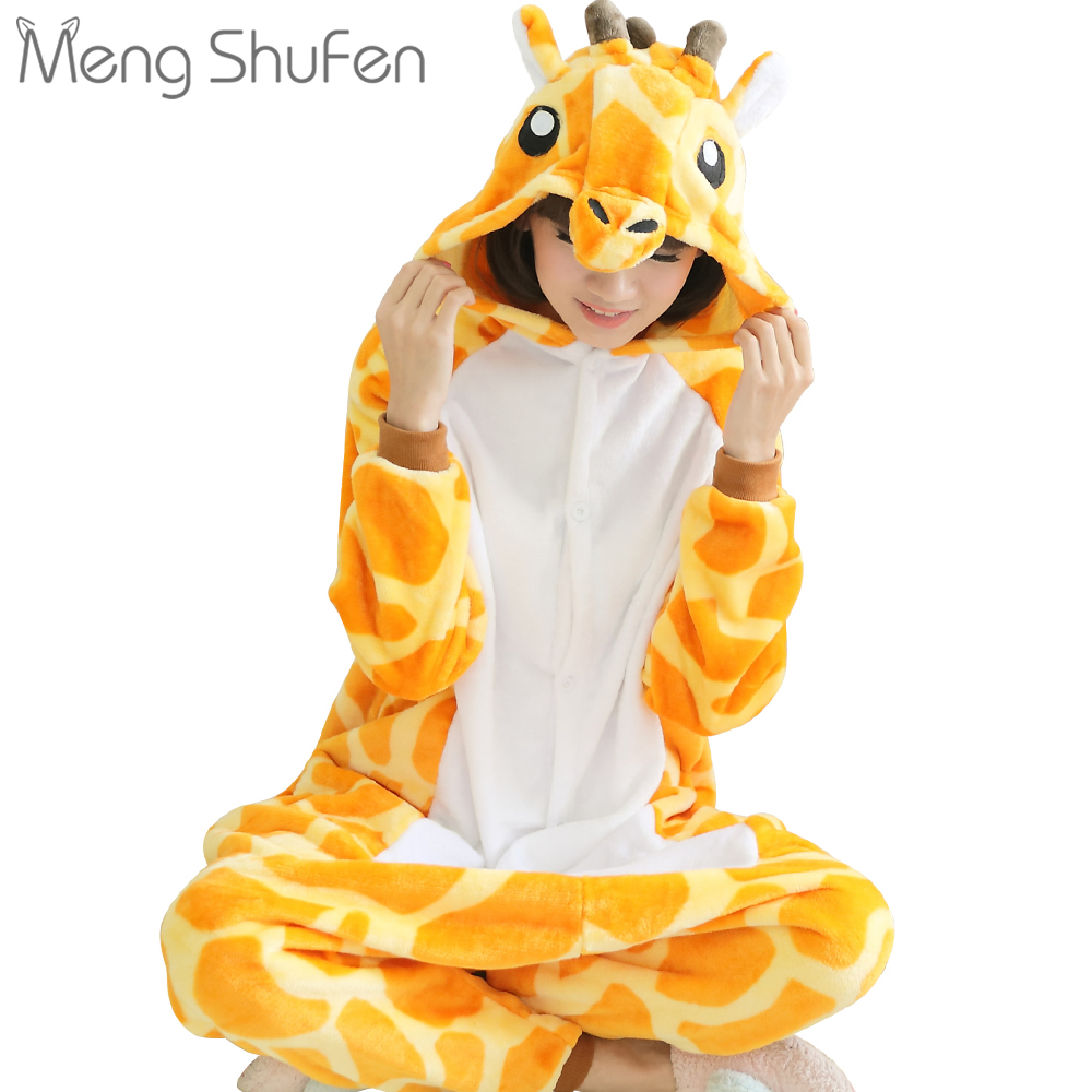 Full body animal pajamas men's Unisex Adult women pajamas Cartoon giraffe pajamas home wear deer