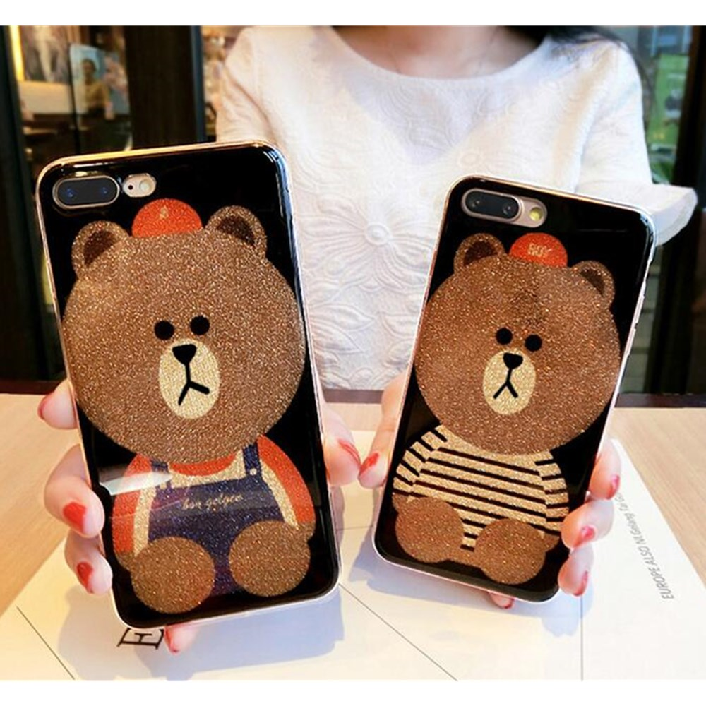 For Iphone 6S CASE New Cute Cartoon Flash Powder Bears TPU Case For Iphone 6 6plus 6S 6Splus 7 7plus CASE Cover