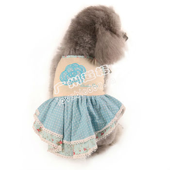 New hot sell dog clothes blue cute skirt pet apparel wholesale in china