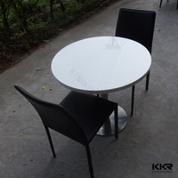 Fantastic cafe bar acrylic solid surface rattan glass dining table and chairs