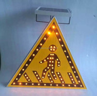 Solar Powered Triangle Pedestrian Crossing Traffic Sign