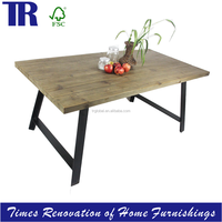 wooden dining table,recycled timber dining table with cast iron feet,vintage long dining table with black iron feet