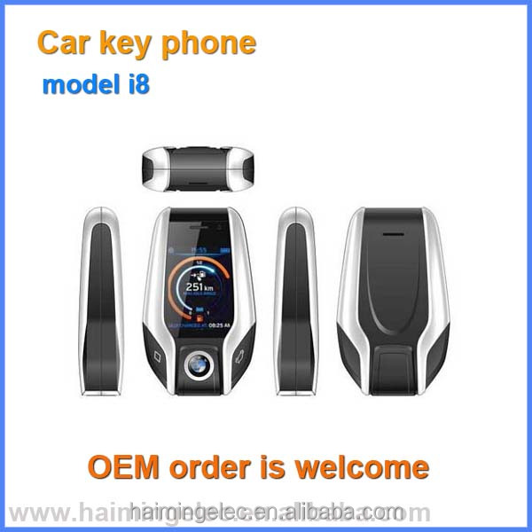 very Small size mobile phones car key phone quality MINI i8 like BMW keys