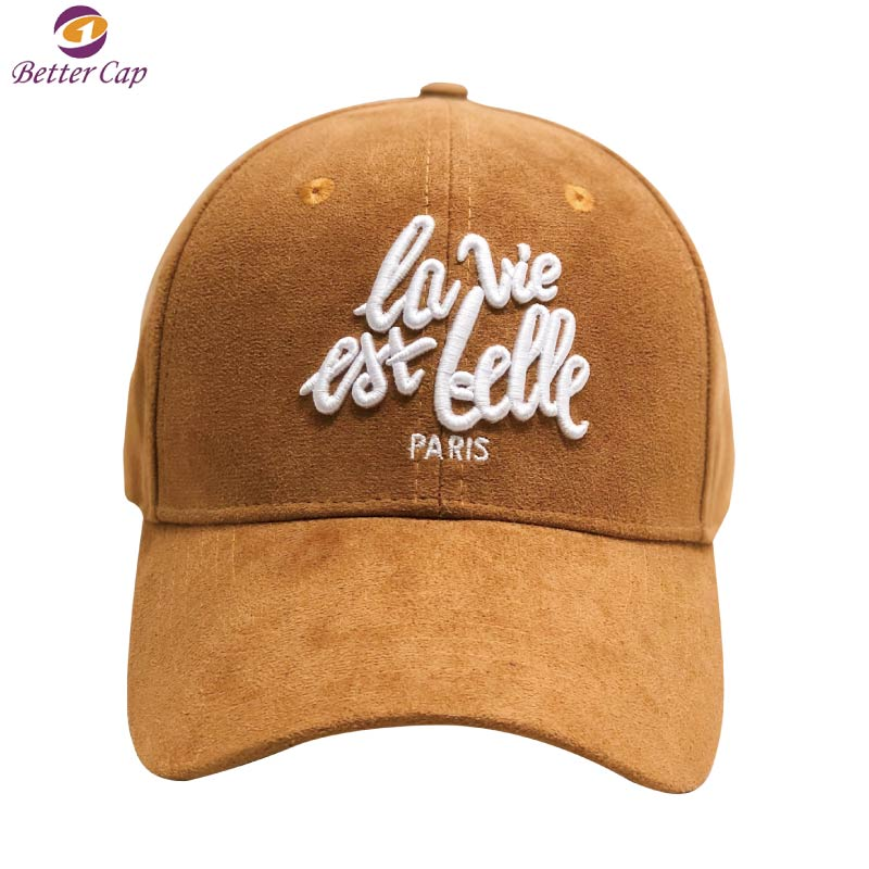 High quality 3D puff embroidery design your own logo 6 panel suede baseball cap and hat