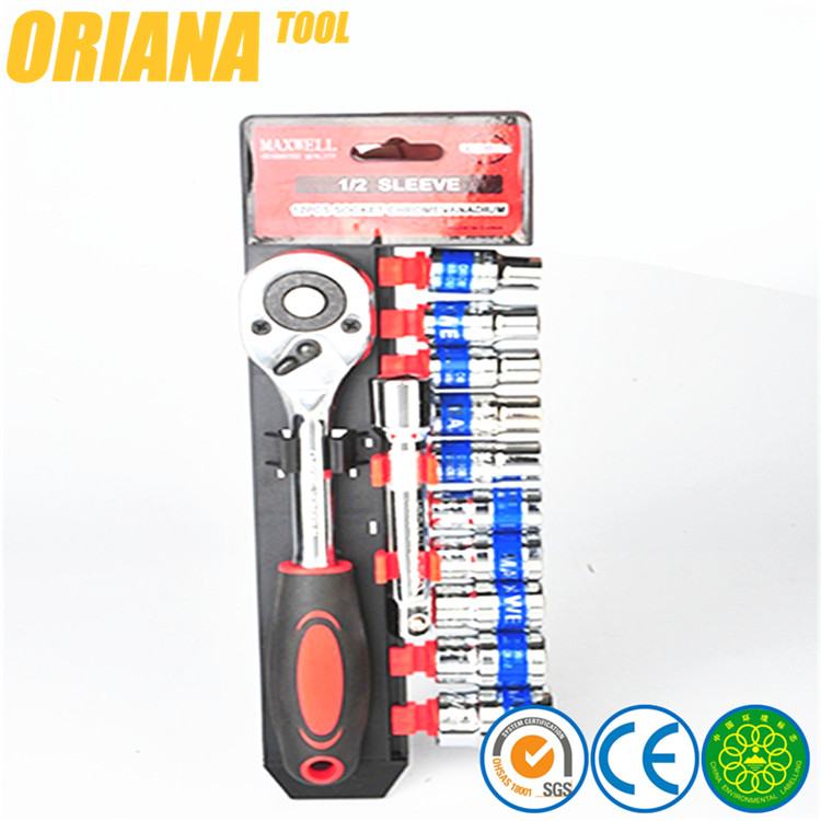 12PCS 1/2inch Hand Tool Chrome Vanadium Professional Combine Socket Wrench Set