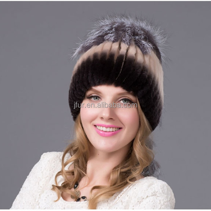High Quality Genuine Rex Rabbit Fur Cap With Full Fox Fur Pom Poms
