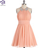 bling bling elegant knee length short chiffon cocktail dresses Peach to Meet You Dress