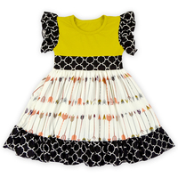 Modern Girls Sleeveless Ruffle Summer Dresses Baby Cotton Frocks Designs Kids Clothes Girls Mustard And Arrows Patterns Dresses