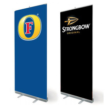 Moving Custom Retractable Banner Stand Rolling Up Smooth Vinyl