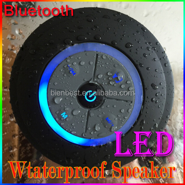 Cheap Portable Waterproof Wireless Bluetooth Speaker with LED light used in shower room