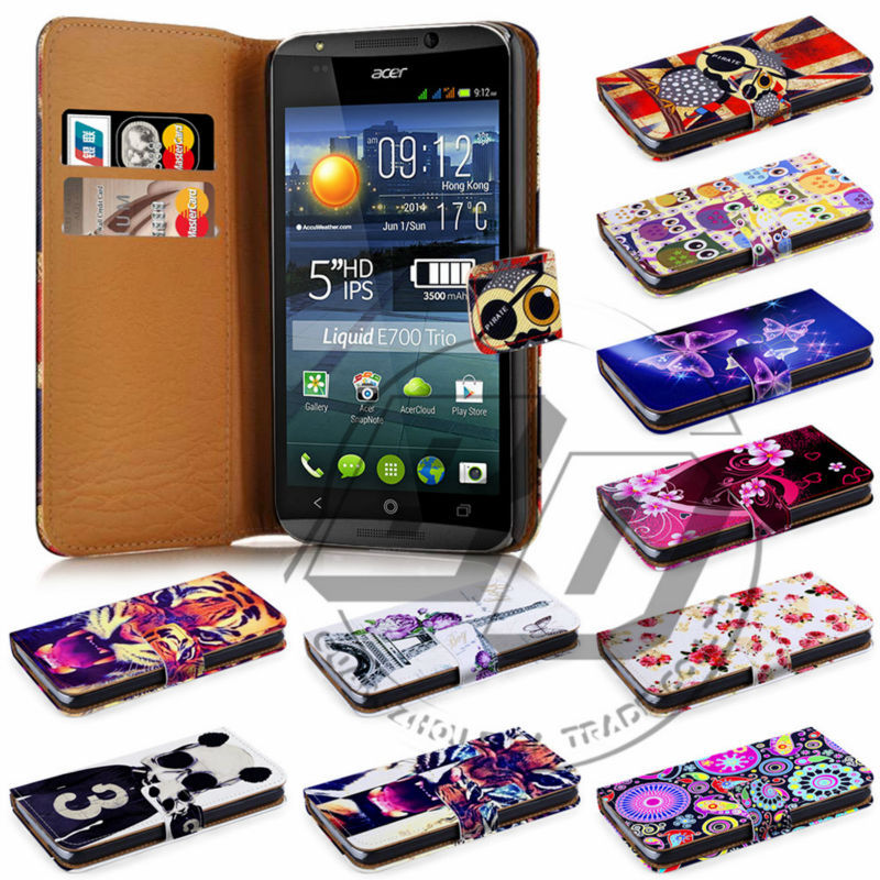 For Acer Liquid E700 High Quality Print Card Holder Flip PU Wallet Leather Case Cover Moible Phone Csae