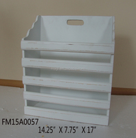 Antique white wooden table file rack