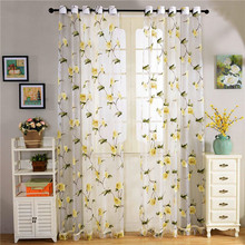 American new designs curtain floral printed sheer fancy voile fabric
