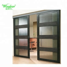 Double tempered glass aluminum outside door at factory price Aluminum security door
