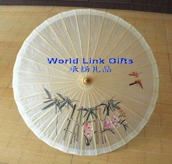 WOP-4222F Chinese characteristics bamboo oiled white paper umbrella