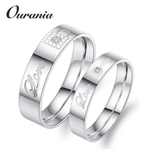 New Fashion Design Titanium Key Lock Shaped Coupling Love Promise Rings with Engraving Letters and Zircons