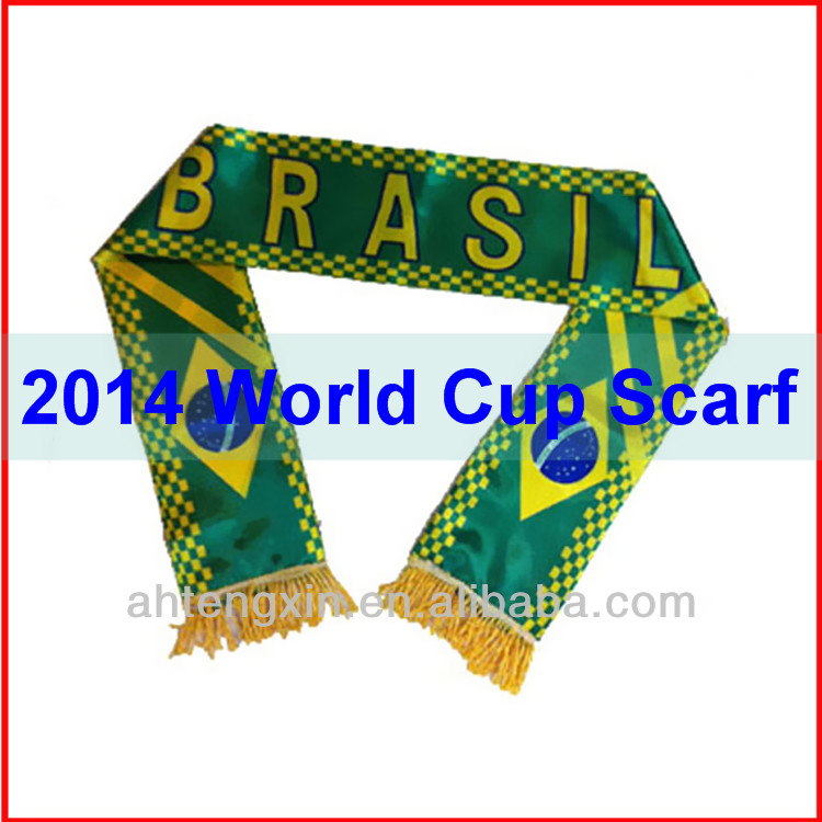 New style for 2014 Brazil world cup scarf,knitted fan scarf