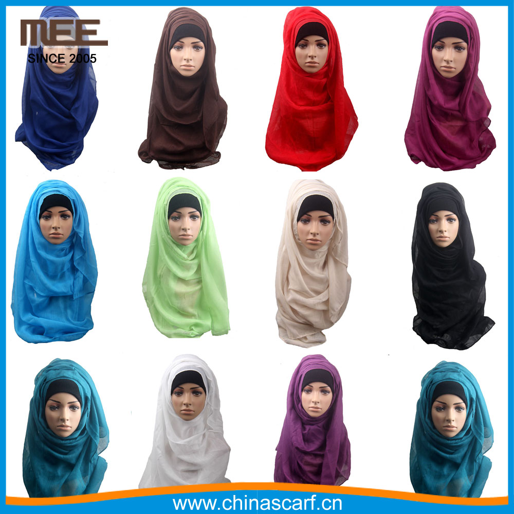 2017 New cotton large factory plain solid color viscose hijab