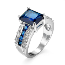 Sterling silver big zircon stone ring for men with multi color