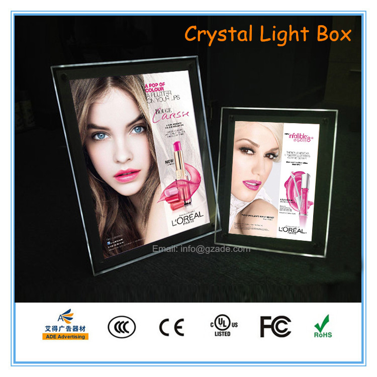 Guangzhou ADE Ultra Slim Advertising Crystal LED Light Box, Commercial Acrylic LED Frame