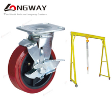 Heavy duty PP core caster PU material swivel trunkle 6 inch casters with brake