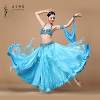 New 2016 Performance Beads Blue Belly Dancing Oriental Dance Costumes 3pcs Set (Bra Belt Skirt) Belly Dance Costume for Adult