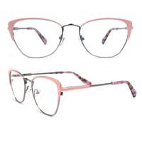 Women two tone retro frame teen french brands eyewear, high quality innovative flex hinge metal eye glass optical frames