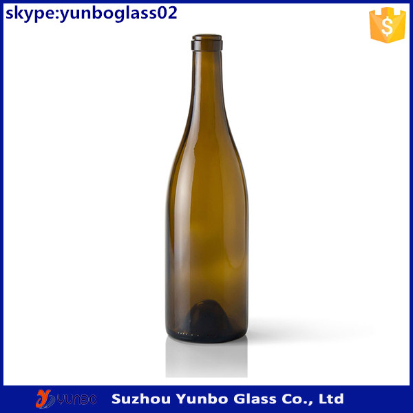 China supplier cork top burgundy 750ml glass wine bottles wholesale