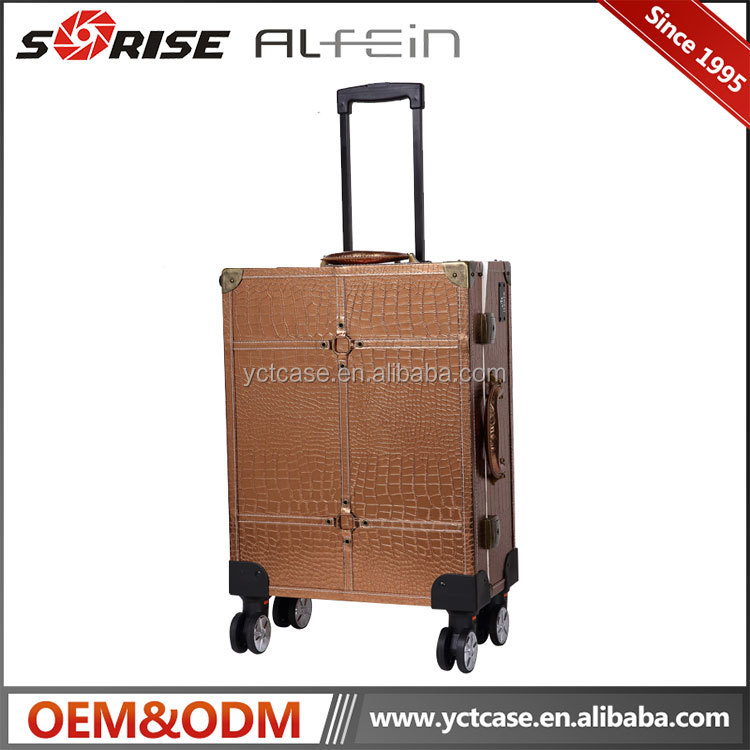 Leather material Cosmetic trolley case with lights mirror trolley makeup case