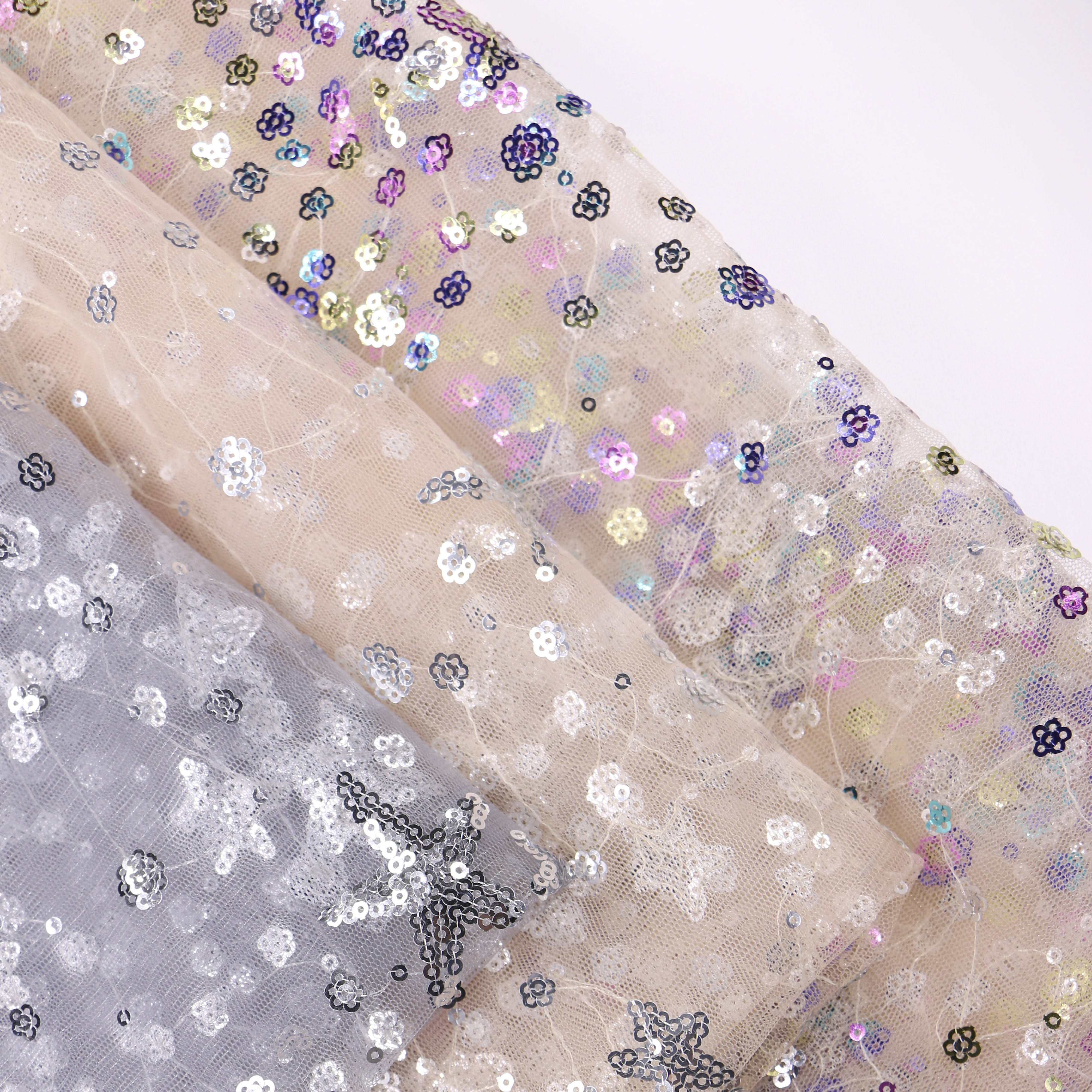 Star Glitter Floral Factory Wholesale Sequin Tulle Fabric