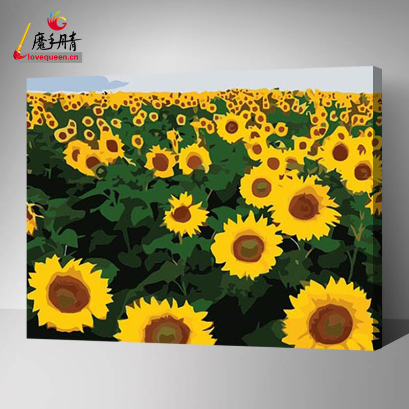 Sunflower painting handmade arts and crafts of DIY oil painting by numbers wholesales in china factory LoveQueen for decor home