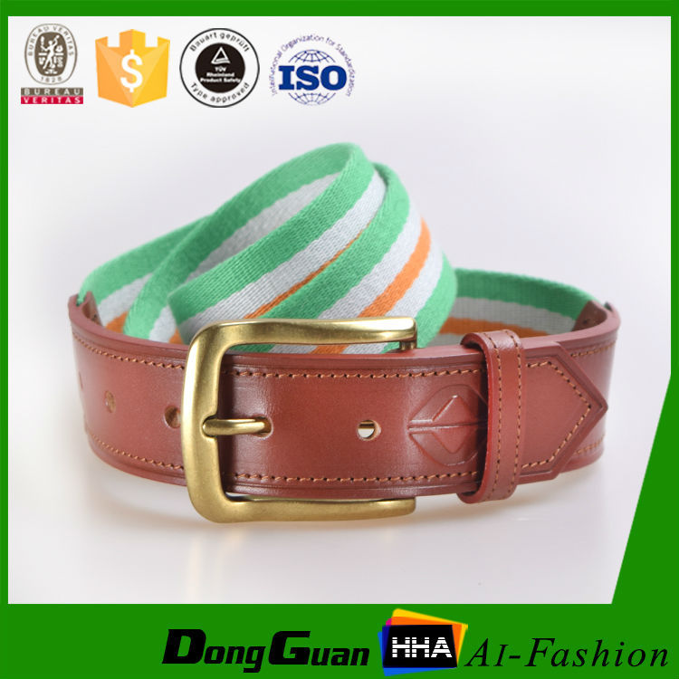 2017 customized cotton women canvas belts with genuine leather