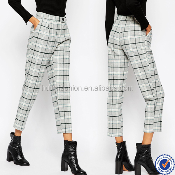 fashion worsted wool fabric plaid women pants