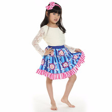 2017 hot sell longsleeve white t-shirt blue floral stripe skirt girls party dress baby clothing set