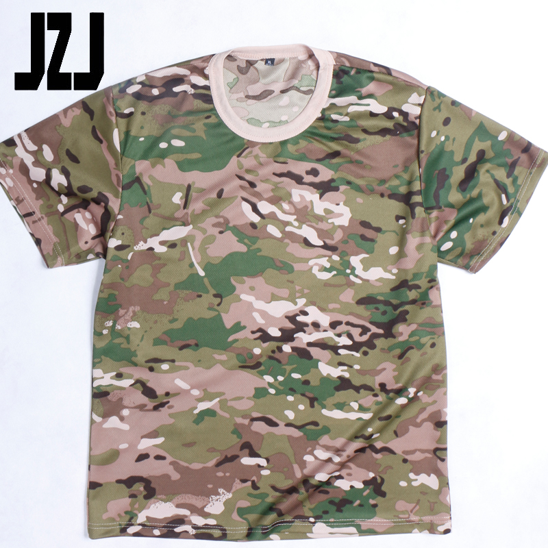100% Polyester round neck Army clothing military uniform camouflage military T-shirt
