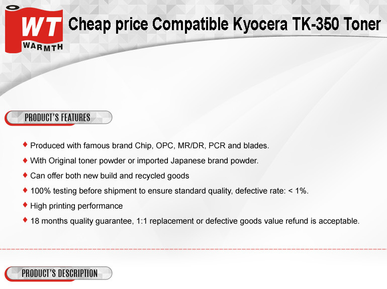 Cheap price Compatible Kyocera Mita TK-350 Toner