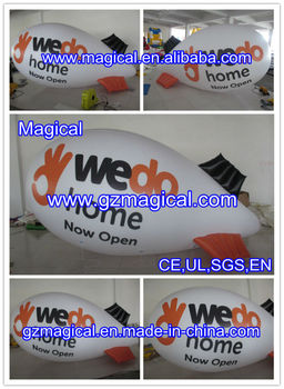 White inflatable helium blimp/ hydrogen balloon