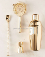 4PCS 550ml Stainless Steel Copper Rose Gold Plated Cocktail Shaker Set+Double Jigger+Mixing Spoon+Strainer+Customized Logo