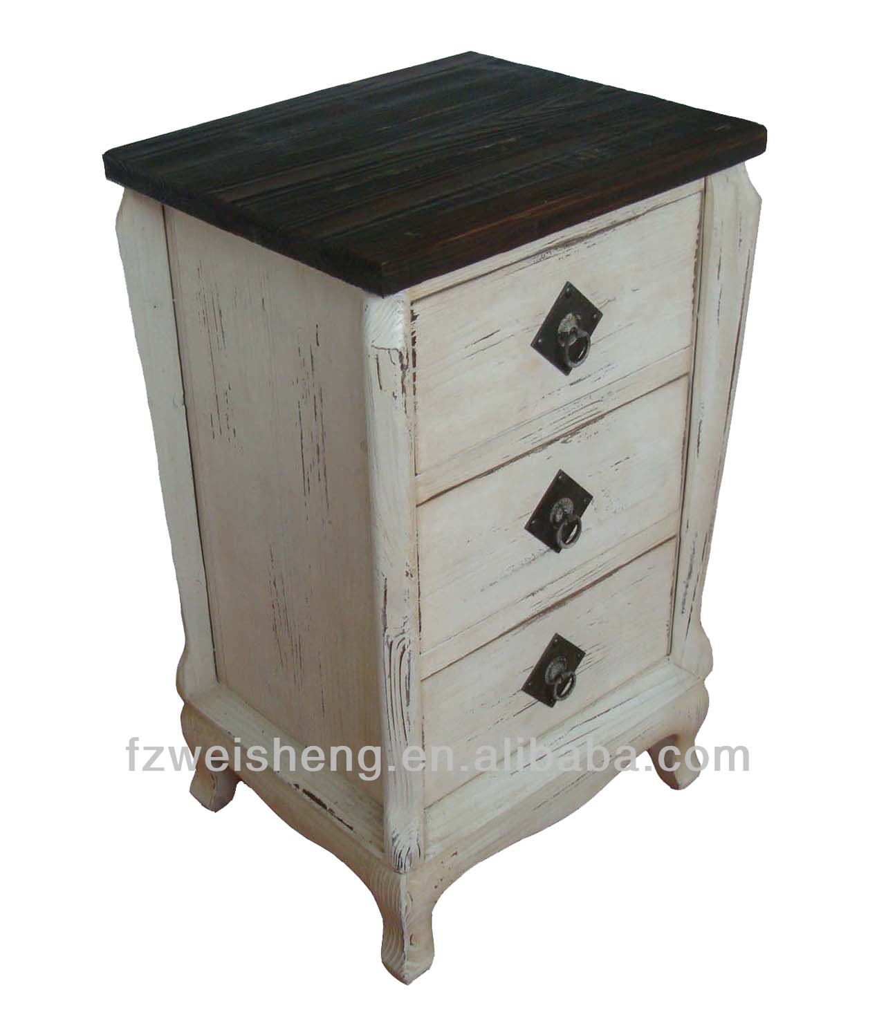 Distressed Two-toned 3 Drawer Chest/Side Cabinet