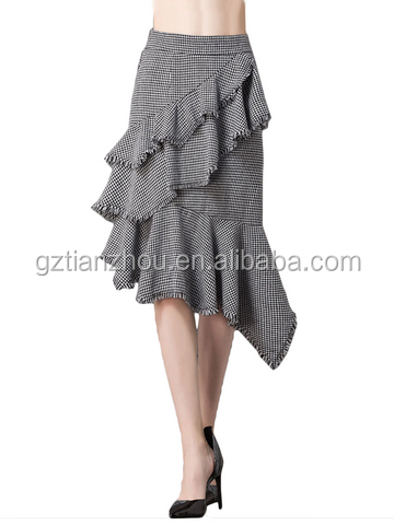 China Hot Selling Pretty Asymmetric Ruffles Hem Houndstooth Skirt Elegant Ladies Skirt