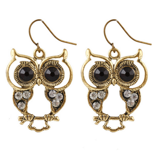 Wholesale Amazon wish ebay top selling Gold plated 2016 new <strong>earrings</strong> jewelry crystal summer fashion The owl <strong>earring</strong>