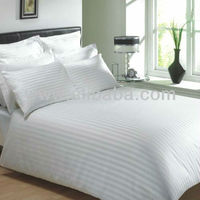 Polyester Cotton Stain Stripe White Bedsheet