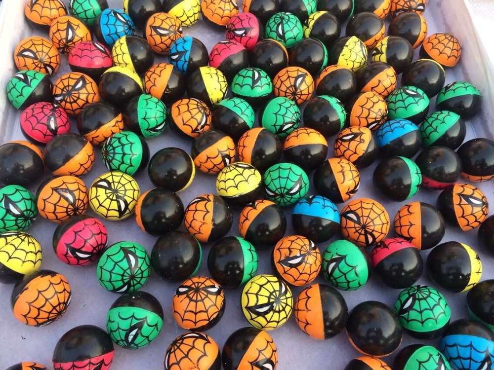 25mm,32mm,45mm Double Colors Cute Spiderman Rubber High Bouncy Ball