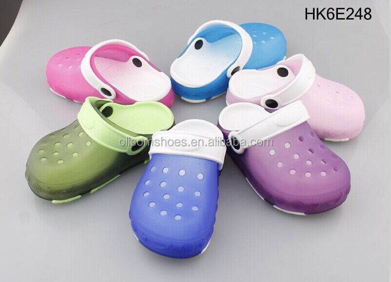 LED kid Breathable Garden jelly light up clog shoes