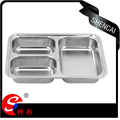 Stainless Steel Canteen Serving Tray /Dinner fast food plate with 3 compartments