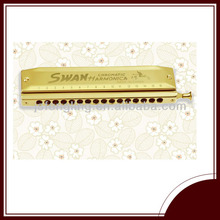 professional SWAN 16 hole 64 tone square chromatic golden harmonica