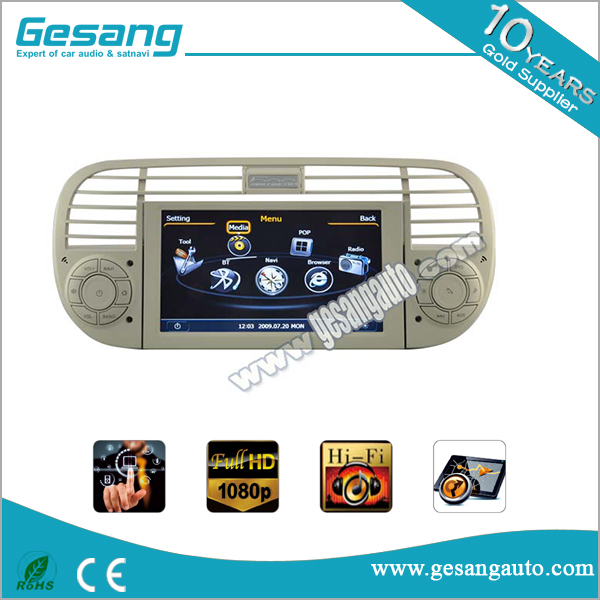 Radio Tuner, CD Player,B luetooth-Enabled Combination and Dashboard Placement CAR DVD PLAYER for fiat 500