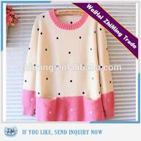 Tops for women 2016 two colour sweater design with high quality