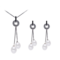 925 Silver Freshwater Cultured Pearl Pendant and Earrings Jewelry Set (7-8mm)