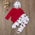 Autumn Winter Newborn Infant Cute baby boy letter print red romper Tops+pants+hat 3pcs soft clothes set